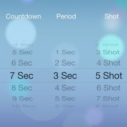 iPhone camera timer menu