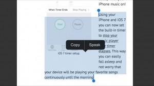 iPhone speak selection