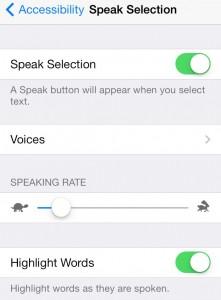 speak selection settings menu