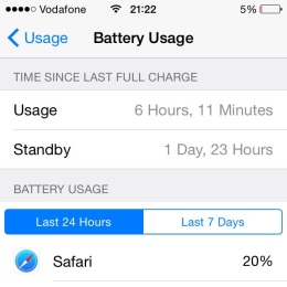 battery duration menu