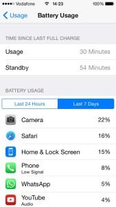 battery usage menu