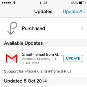gmail iOS 8 update