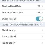heart rate settings menu