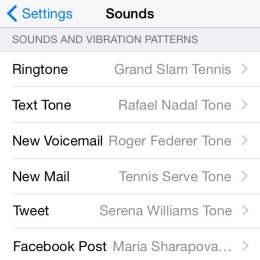 iPhone sounds menu with Tennis Alerts