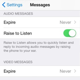 raise to listen settings menu