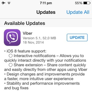 viber update for iOS 8 support
