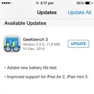 geekbench 3 battery life test update