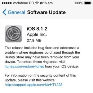 ios 8.1.2 software update release