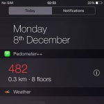 iphone 6 pedometer++ widget with elevation info