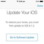 restore iTunes ringtones screen