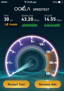 iphone 5s WiFi speed test