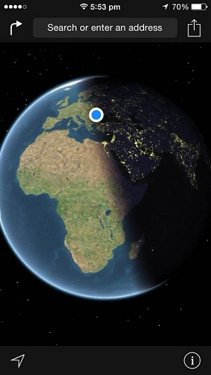 ios maps real-time earth position - day