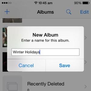 adding a new photos album in iOS