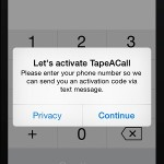 tapeacall activation screen