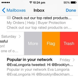 ios mail swipe to trash