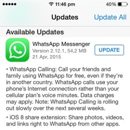 whatsapp ios 8 share extensions update