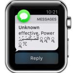 malicious unicode imessage apple watch notification