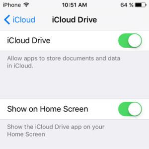 Show iCloud Drive on Home Screen