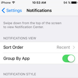 ios 9 group iphone notifications by app