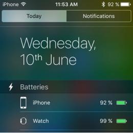 iphone batteries widget in ios 9