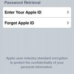 iforgot apple id password retrieval screen