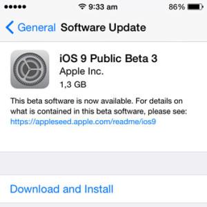 ios 9 public beta 3 update