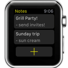 notes for watch home screen view