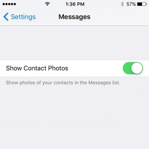 ios 9.1 show contact photos option