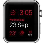 red modular watch face