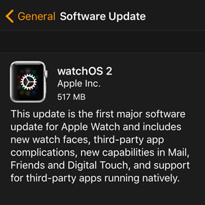 watchOS 2 software update for apple watch