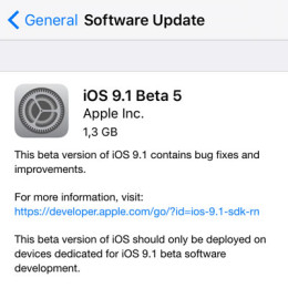 ios 9.1 beta 5 update