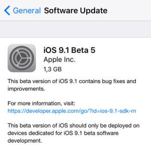 ios 9.1 beta 5 update