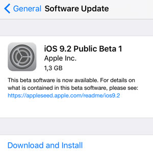 ios 9.2 public beta 1 update