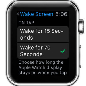 watchos 2 wake screen on tap setting
