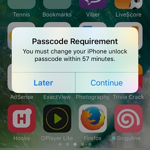 iphone change unlock passcode requirement screen