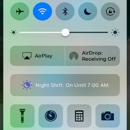 iphone night shift mode in control center