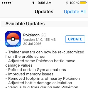 pokemon go 1.1.0 update