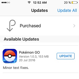 pokemon go version 1.0.3 update available