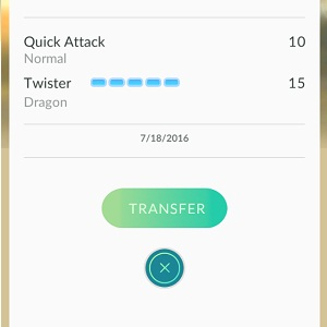transfer pokemon button