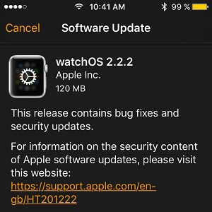 watchos 2.2.2 software update
