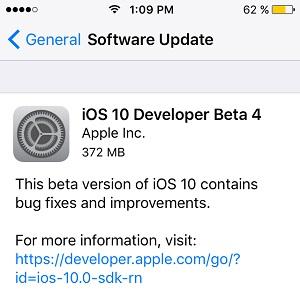 ios 10 developer beta 4 software update