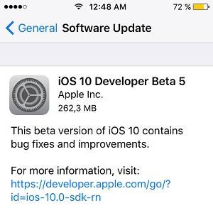 ios 10 developer beta 5 software update