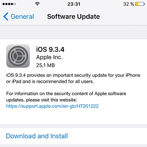 ios 9.3.4 software update screen