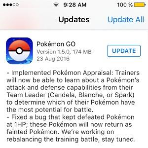 pokemon go 1.5.0 update