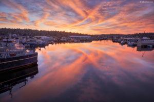 Harbor sunset wide gamut photo.