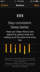 bedtime sleep history bars