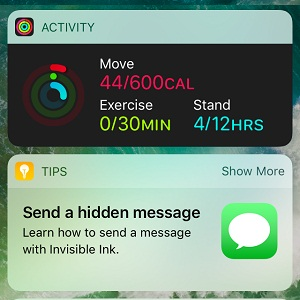 iOS 10 Activity and Tips Widgets.