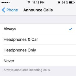 iOS 10 Announce Calls Option