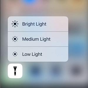 iOS 10 Flashlight Brightness Setting
