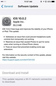 iOS 10.0.2 Release Note on iPhone 5S.